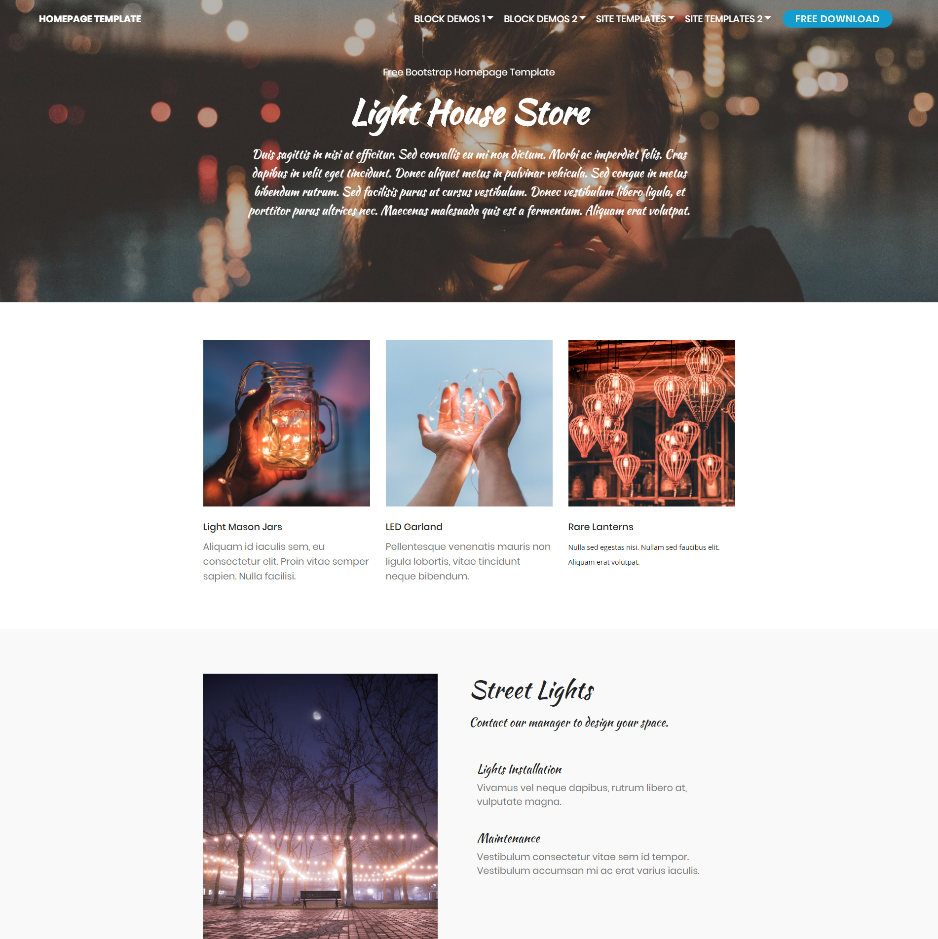 Responsive Bootstrap Homepage Templates