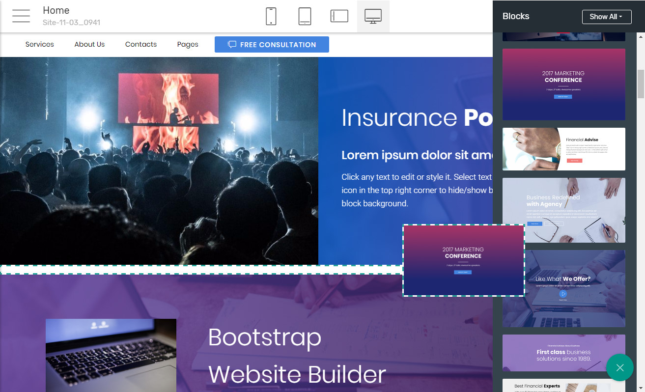 Bootstrap Landing page Maker
