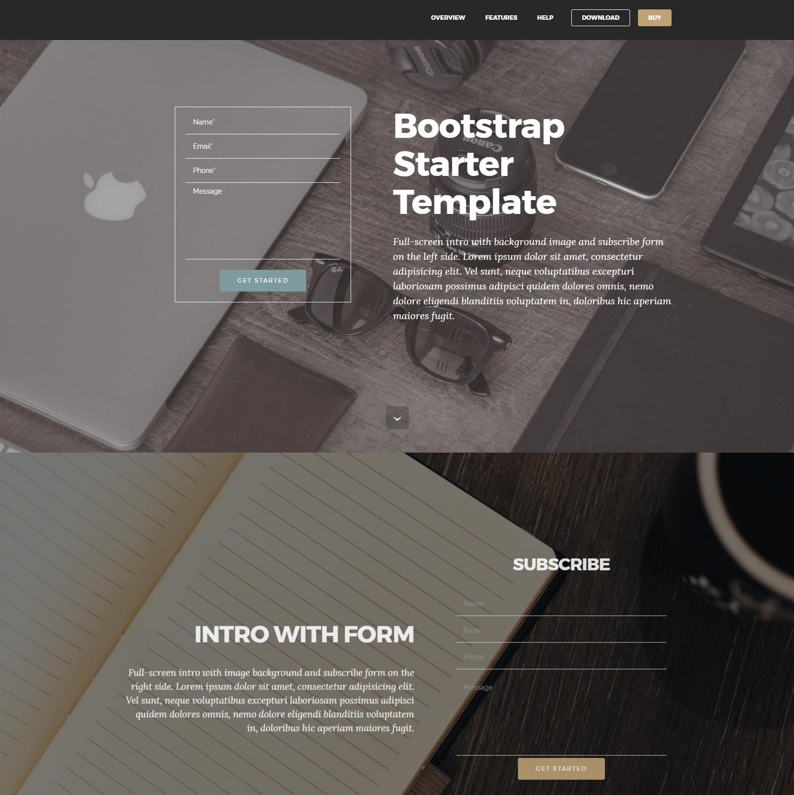 HTML Bootstrap Starter Templates